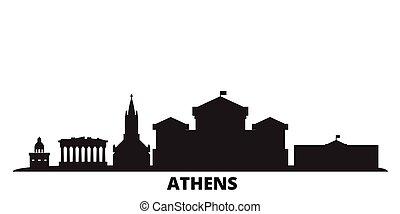 都市, ギリシャ, 隔離された, アテネ, 旅行, 黒, スカイライン, illustration., 都市の景観, ベクトル