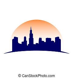 都市, グラフィック, シルエット, 都市, シンボル, スカイライン, デザイン