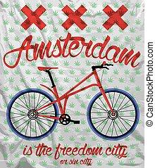 都市, グラフィック, ワイシャツ, 自転車, デザイン, t, アムステルダム