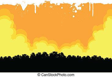 都市, グランジ, 背景