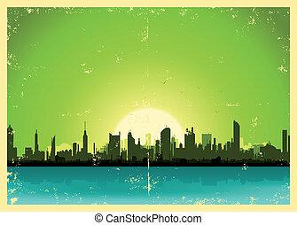 都市, グランジ, 風景