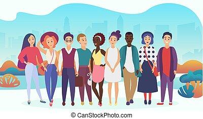 都市, グループ, illustration., 人々, 勾配, 会社, ∥あるいは∥, バックグラウンド。, ベクトル, チーム, 最新流行である, 幸せ, 柔らかい, 偶然, 色は 着る