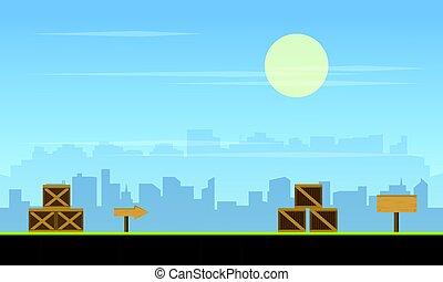 都市, ゲーム, 背景, コレクション, 株