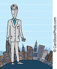 都市, コピースペース, ビジネスマン