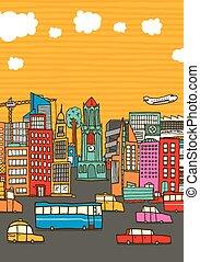 都市, コピー, 忙しい, カラフルである, スペース