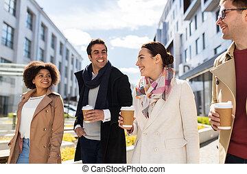 都市, コーヒー, グループ, 人々, 友人, ∥あるいは∥