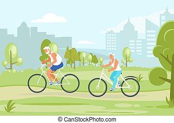 都市, サイクリング, 人々, 公園, 年配, 特徴