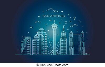 都市, サン・アントニオ, スカイライン, ベクトル, 背景