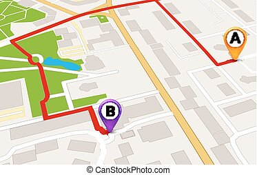 都市, サービス, 地図, concept., デザイン, 見通し, テンプレート, gps, ルート, 3d