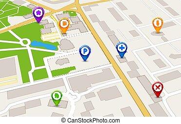 都市, サービス, 地図, concept., デザイン, 見通し, gps, 3d
