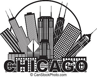 都市, シカゴ, イラスト, スカイライン, 黒, 白い円