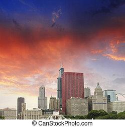 都市, シカゴ, 超高層ビル, 上に, 空, illinois., 色, すばらしい