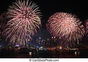 都市, ショー, 花火, ヨーク, 新しい, マンハッタン
