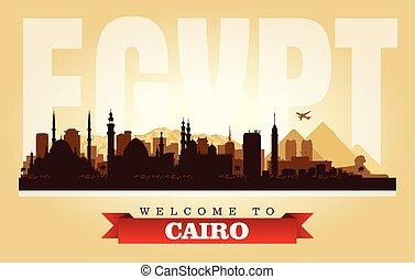 都市, シルエット, エジプト, カイロ, スカイライン, ベクトル