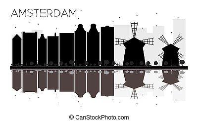 都市, シルエット, スカイライン, 黒, reflections., アムステルダム, 白