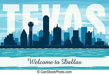 都市, シルエット, ダラスのスカイライン, ベクトル, テキサス