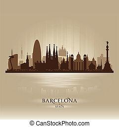 都市, シルエット, バルセロナ, スカイライン, ベクトル, スペイン