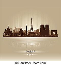 都市, シルエット, パリフランス, スカイライン, ベクトル