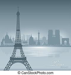 都市, シルエット, パリフランス, スカイライン, 背景