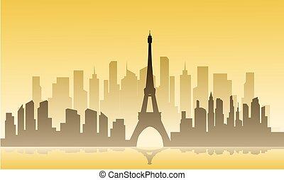 都市, シルエット, フランス