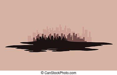 都市, シルエット, ベクトル, イラスト