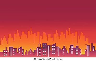 都市, シルエット, ベクトル, 風景