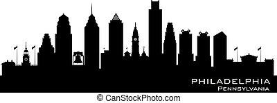 都市, シルエット, ペンシルバニア, フィラデルフィア, スカイライン, ベクトル