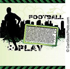 都市, シルエット, ポスター, フットボール選手, グランジ, サッカー
