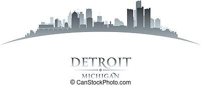 都市, シルエット, ミシガン州, デトロイト, スカイライン, 背景, 白