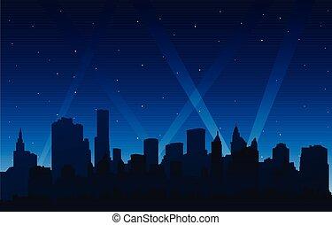 都市, シルエット, ライト, 背景, 夜, パーティー