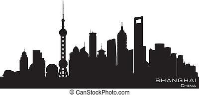 都市, シルエット, 上海, スカイライン, ベクトル, 陶磁器