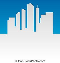 都市, シルエット, 中心, 大きい, 抽象的, ベクトル