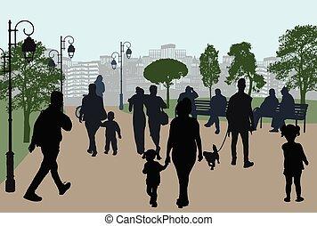 都市, シルエット, 公園, 人々