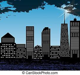 都市, シルエット, 夏, bl, 大きい, 明るい, 背景, 太陽