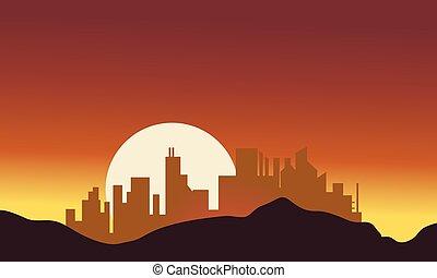都市, シルエット, 大きい, 月
