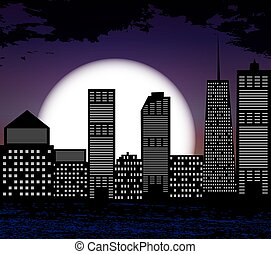 都市, シルエット, 大きい, moon., ベクトル, 背景, 白, illus