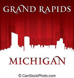 都市, シルエット, 急流, ミシガン州, スカイライン, 背景, 壮大, 赤