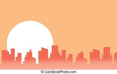 都市, シルエット, 月, 風景, 大きい