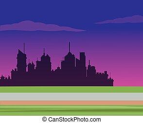 都市, シルエット, 道, 背景, 夜