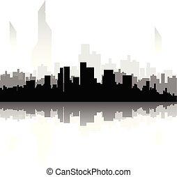 都市, シルエット, 黒