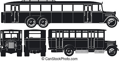 都市, シルエット, 30s, set., バス