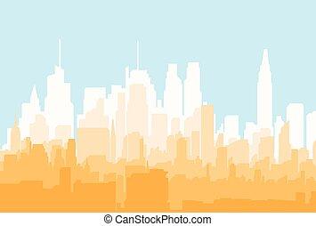 都市, シルエット, illustration., 平ら