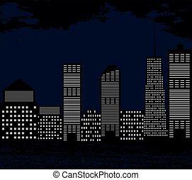 都市, シルエット, sky., illustr, 大きい, 暗い, ベクトル, 背景
