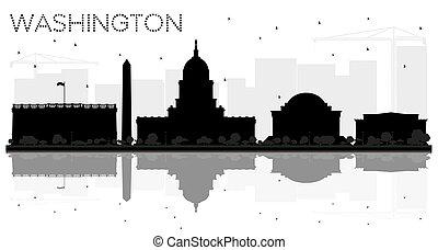 都市, シルエット, washington d.c., スカイライン, 黒, reflections., 白
