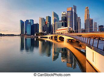 都市, シンガポール, パノラマ, 日の出, スカイライン