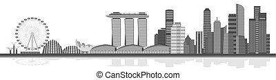 都市, シンガポール, ベクトル, イラスト, skyline.