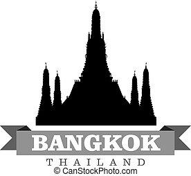 都市, シンボル, イラスト, バンコク, ベクトル, タイ