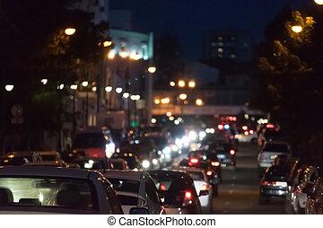 都市, ジャム, ロット, 風景, ライト, blur., 交通, 自動車, 背景, night., 光景