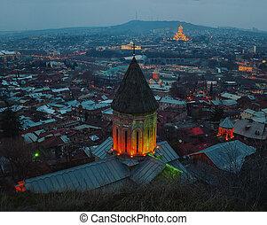 都市, ジョージア, 航空写真, 中心, tbilisi, 夜, 光景