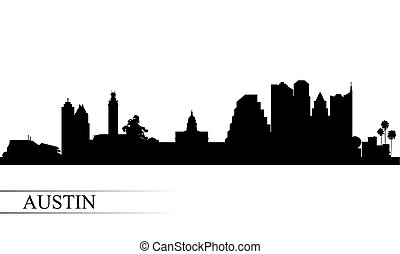 都市 スカイライン, シルエット, オースティン, 背景
